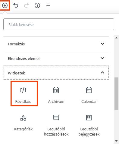 rövidkód beillesztése - shortcode insert