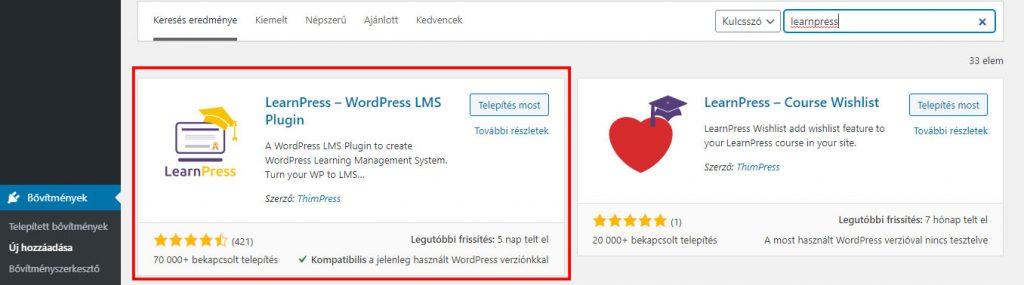 LearnPress LMS bővítmény telepítése